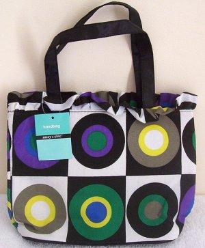 Girls Teen Ladies Black Retro Art Canvas Handbag NWT