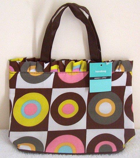 Girls Teen Ladies Brown Retro Art Canvas Handbag #1 NWT