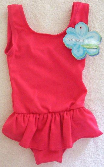 Infant Girl Bright Pink 12m 18m Tank 1 PC Swim Suit NWT