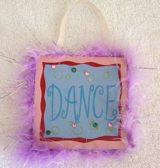 Girls Purple Fur Trim Dance Room Decor Door Sign Brand New!