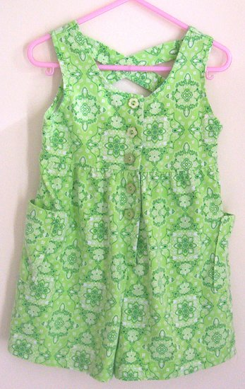 Girls 4T Lime Green Floral One Piece Short Outfit EUC