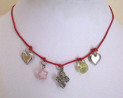 Teen Red Leather Charm Choker Necklace - New Item!