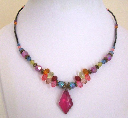 Teen Bronze and Acrylic Bead Necklace 17-19 in New Item