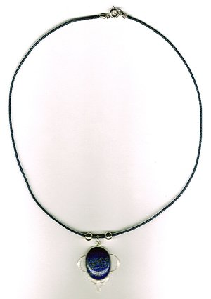Genuine .925 SS Lapis Leather Necklace - New Item