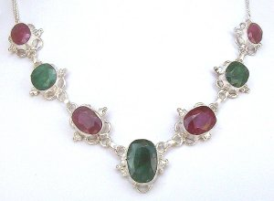 .925 SS Genuine Colombian Emerald and Ruby Necklace 245 CTs