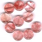 Cherry Quartz 10 mm Round Disc Beads - Lot of 10 Beads