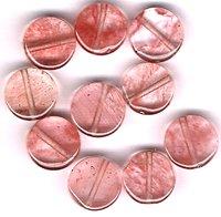 Cherry Quartz 10 mm Round Disc Beads - Lot of 10 Beads