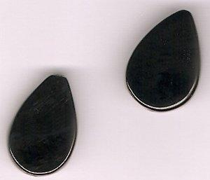 Genuine Black Onyx 14 x 23 mm Teardrop Beads - Lot of 2 - Perfect For Earrings