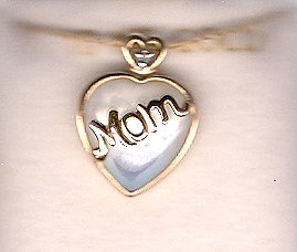 10K Gold Mother of Pearl Heart Mom Necklace 18 Inches