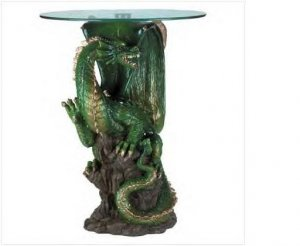 Alabaster Dragon Glass End Table