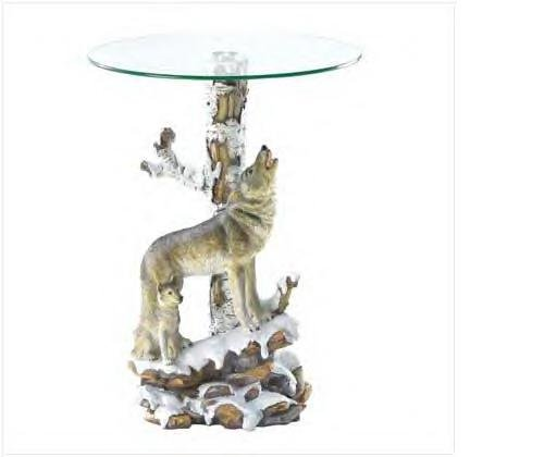 Alabaster Wolf Glass End Table
