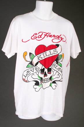 NWT White Ed Hardy Love Kills Slowly Mens T-Shirt Large