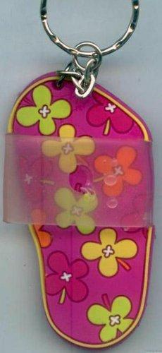 Flip Flops Beach Sandals Keychain Pink Orange Yellow & Green Flower Power #0137