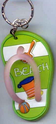 Flip Flops Beach Sandals Keychain Green Stripe Sand Toys #0104