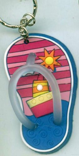 Flip Flops Beach Sandals Keychain Pink Stripes Ocean Ship #0119