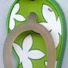 Flip Flops Beach Sandals Keychain Green & White Hawaiian Floral #0107