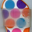 Flip Flops Beach Sandals Keychain Blue Purple Pink & Orange Polka Dots #0125