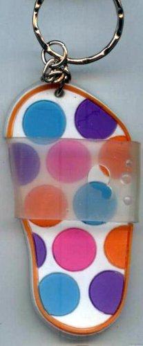Flip Flops Beach Sandals Keychain Blue Purple Pink & Orange Polka Dots #0125