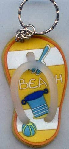 Flip Flops Beach Sandals Keychain Yellow Stripe Sand Toys #0129