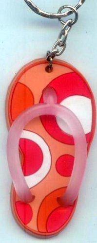 Flip Flops Beach Sandals Keychain Peach Orange Pink & White Groove Swirls #0146