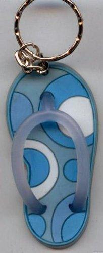 Flip Flops Beach Sandals Keychain Blue & White Groove Swirls #0108