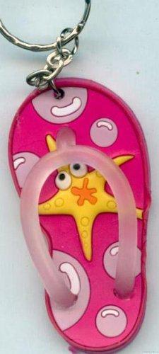 Flip Flops Beach Sandals Keychain Freaky Friends Starfish Pink #0143