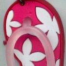 Flip Flops Beach Sandals Keychain Pink & White Hawaiian Floral #0100