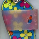 Flip Flops Beach Sandals Keychain Blue Green Yellow Orange & Purple Hippie Flowers #0105