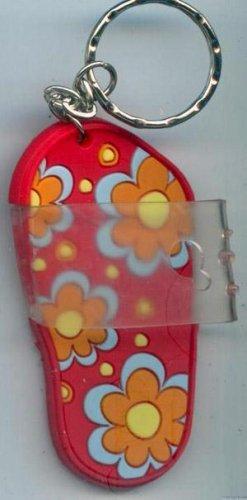 Flip Flops Beach Sandals Keychain Pink Blue Orange & Yellow Hippie Flower Power #0114