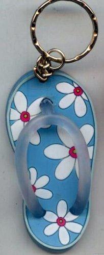 Flip Flops Beach Sandals Keychain Blue & White Tropical Flowers #0113