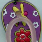 Flip Flops Beach Sandals Keychain Freaky Friends Lady Bug & Dragonfly Purple #0102