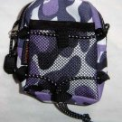Backpack Style Cell Phone Bag Holder Coin Purse Purple Camoflauge #0209