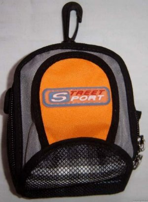 Backpack Style Cell Phone Bag Holder Coin Purse Street Sport Gray & Orange #0203