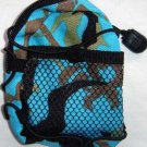 Backpack Style Cell Phone Bag Holder Coin Purse Blue Brown & Green Camoflauge #0219