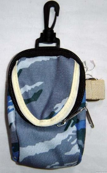 Backpack Style Cell Phone Bag Holder Coin Purse Blue Gray & Green Camoflauge #0210