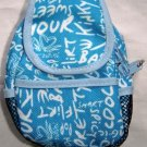Backpack Style Cell Phone Bag Holder Coin Purse Light Blue Grafitti Sex Kinky Glamour Trendy #0221