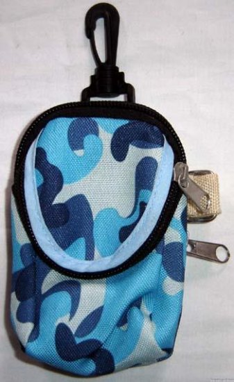 Backpack Style Cell Phone Bag Holder Coin Purse Blue Gray & Green Camoflauge #0201