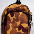 Backpack Style Cell Phone Bag Holder Coin Purse Brown & Gold Camoflauge #0191