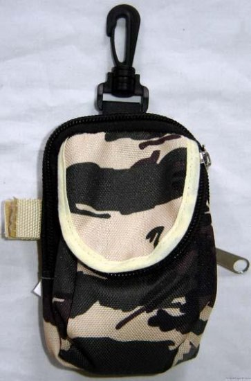 Backpack Style Cell Phone Bag Holder Coin Purse Tan Brown & Green Camoflauge #0225