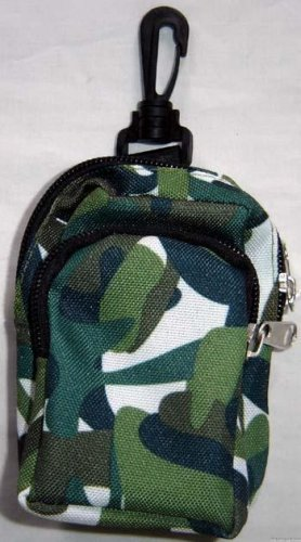 Backpack Style Cell Phone Bag Holder Coin Purse Shades Of Green & White Camoflauge #0232