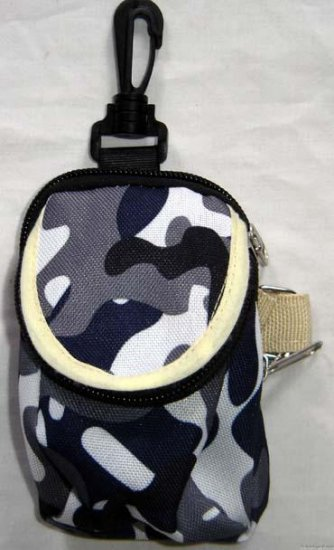 Backpack Style Cell Phone Bag Holder Coin Purse Blue Gray & White Camoflauge #0231