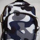 Backpack Style Cell Phone Bag Holder Coin Purse Blue & Gray  Camoflauge #0165