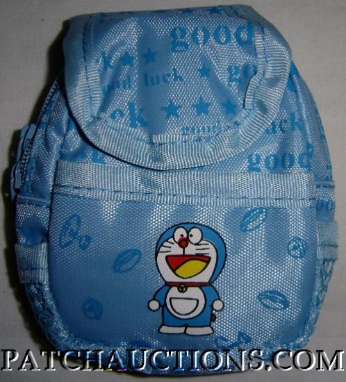 Backpack Style Cell Phone Bag Holder Coin Purse Doramon Blue Cat #0179