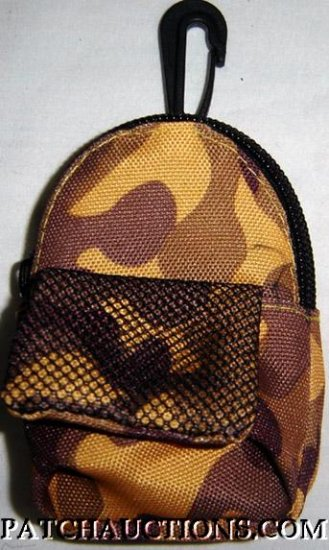 Backpack Style Cell Phone Bag Holder Coin Purse Brown & Gold Camoflauge #0183