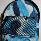 Backpack Style Cell Phone Bag Holder Coin Purse Blues & Gray Camoflauge #0148