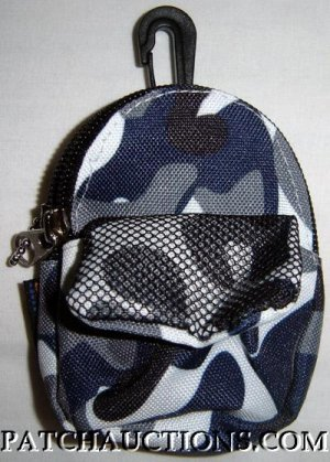 Backpack Style Cell Phone Bag Holder Coin Purse Blue & Gray Camoflauge #0156