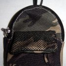 Backpack Style Cell Phone Bag Holder Coin Purse Green & Brown Camoflauge #0151