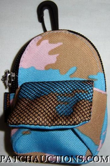 Backpack Style Cell Phone Bag Holder Coin Purse Green & Brown Camoflauge #0160