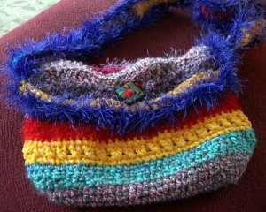Fold over flap over crazy crochet bag!