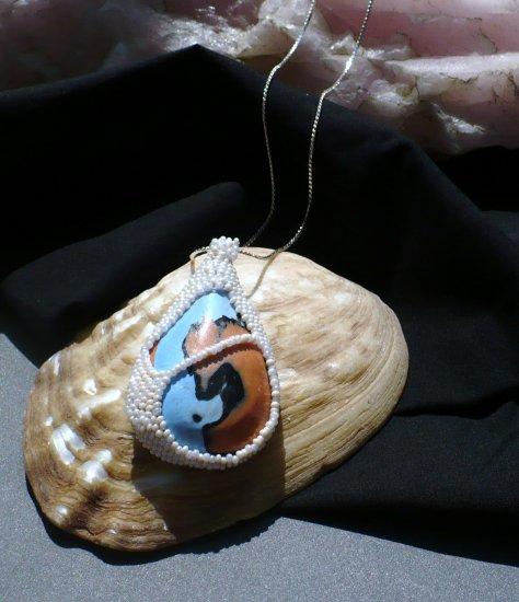 Seed beaded bezel tear drop focal